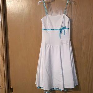 White Dress with Aqua Blue Bow